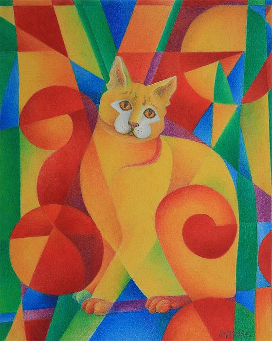 Primary Cat II Print by Pamela Clements