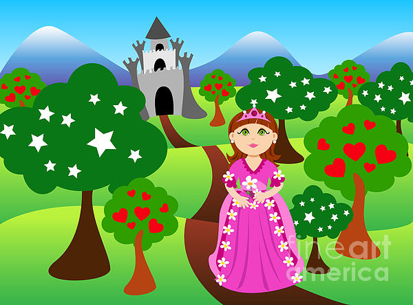 Princess And Castle Landscape Print by Sylvie Bouchard