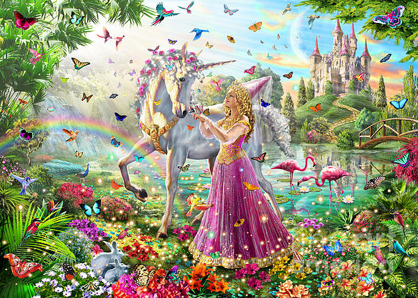Princess And The Unicorn Print by Adrian Chesterman