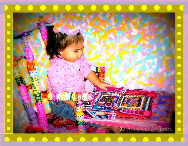 Princess Bella In The Original Magical Rocking Chair Print by Maryann  DAmico