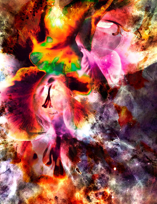 Psychedelic Gladiolus Print by Michelle J Sergi
