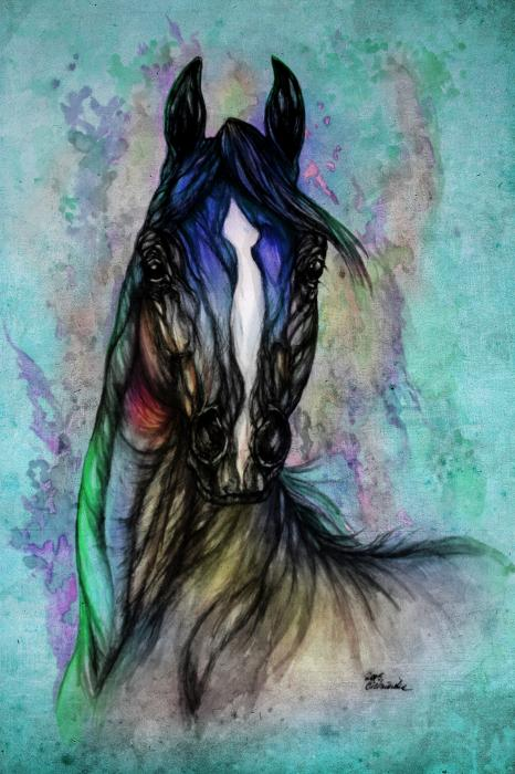 Psychodelic Blue And Green Print by Angel  Tarantella