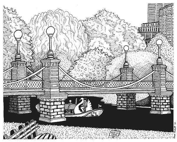 Public Garden Swan Boats Print by Conor Plunkett