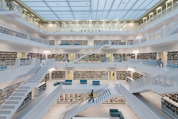 Public Library Stuttgart - Modern Architecture And Lots Of Books Print by Matthias Hauser