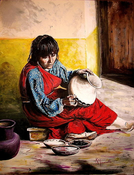 Pueblo Potter In Red Print by Kevin Meredith