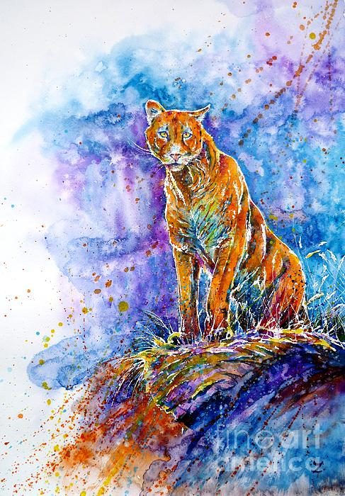 Puma. Listening To The Sounds Of The Mountains.  Print by Zaira Dzhaubaeva