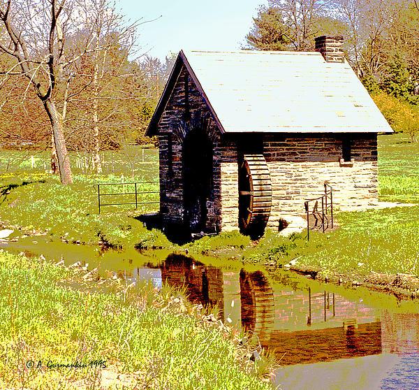 Pump House And Water Wheel In Autumn Digital Art Print by A Gurmankin