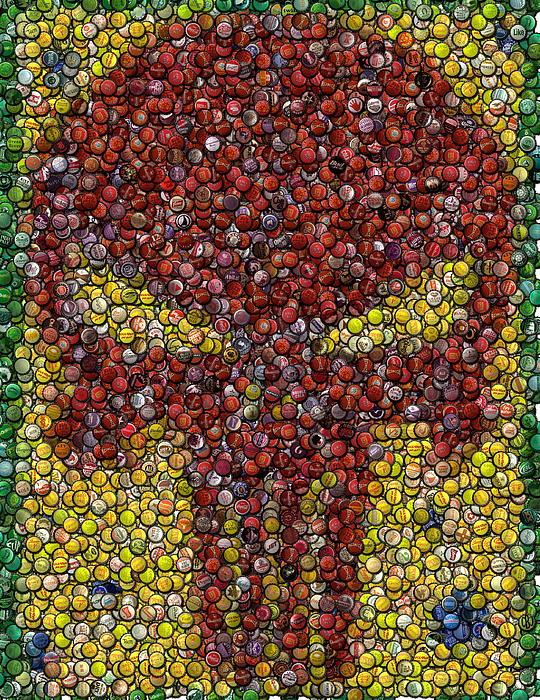 Punisher Bottle Cap Mosaic Print by Paul Van Scott