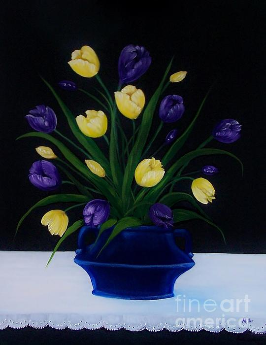Purple And Yellow Tulips Print by Peggy Miller