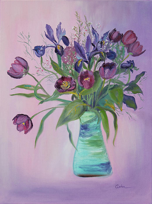 Asha Carolyn Young - Purple Belle Bouquet  Tulips and Irises