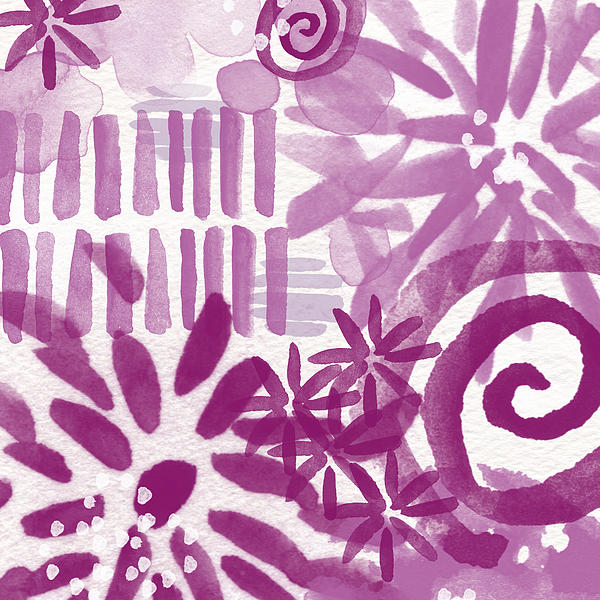 Purple Garden - Contemporary Abstract Watercolor Painting Print by Linda Woods