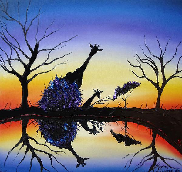 Purple Reflection Of Serengeti Print by James Dunbar