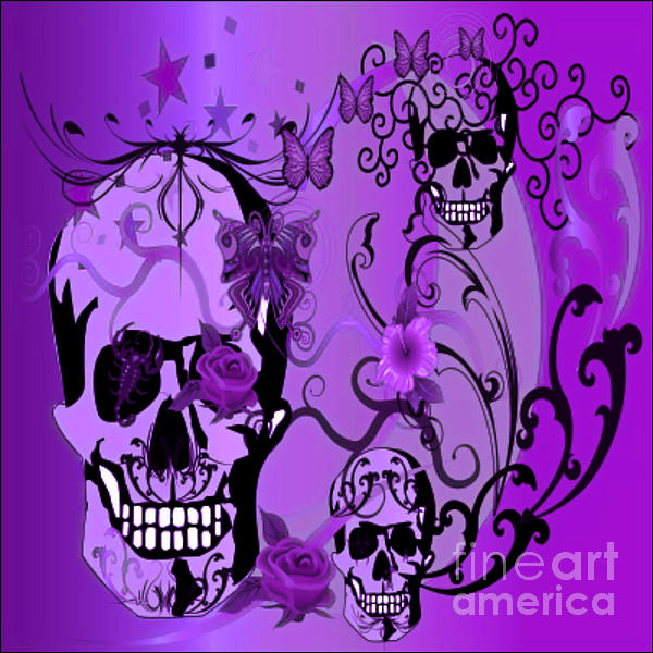 Purple Skulls Print by M and L Creations