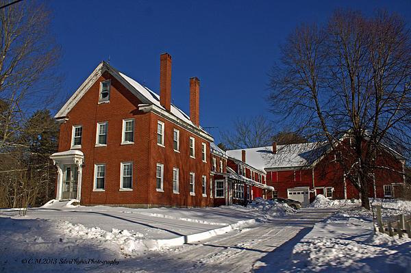 Quaint Maine Winter Farm Print by Catherine Melvin