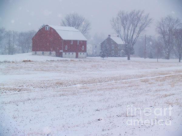 Quakertown Farm On Snowy Day Print by Anna Lisa Yoder