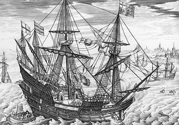 Queen Elizabeth S Galleon Print by English School