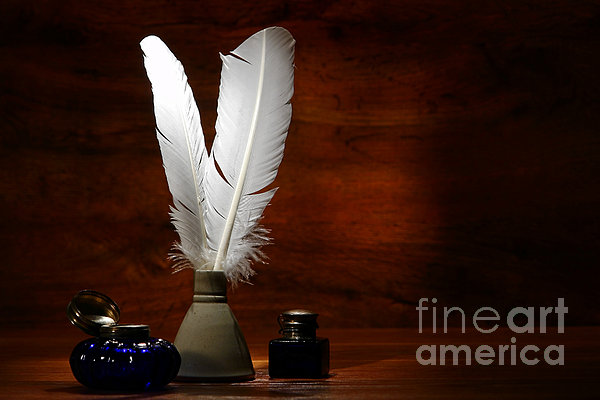 Quills And Inkwells Print by Olivier Le Queinec