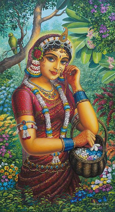 Radharani In Garden Print by Vrindavan Das