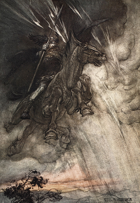 Raging, Wotan Rides To The Rock! Like Print by Arthur Rackham