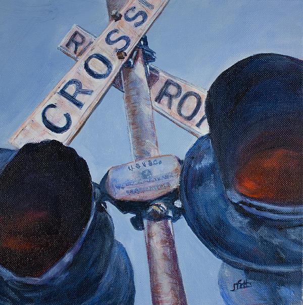 Railroad Crossing Print by Janet Felts