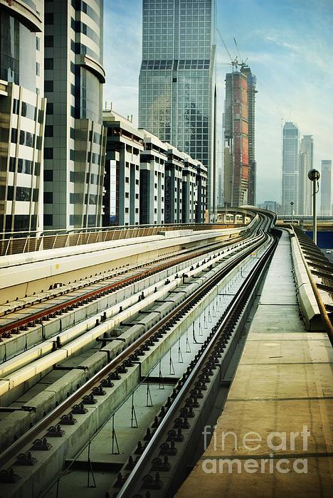 Railroad In Dubai Print by Jelena Jovanovic