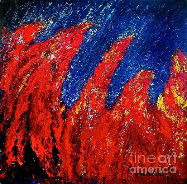 Rain On Fire Print by Ania M Milo