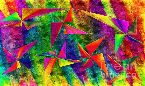 Rainbow Bliss - Pin Wheels - Painterly - Abstract - H Digital Art