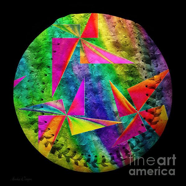 Rainbow Bliss Pinwheels Baseball Square Print by Andee Design