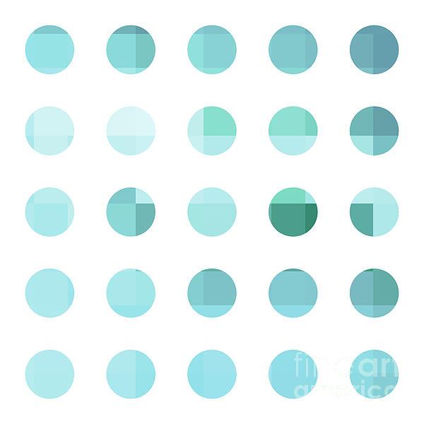 Rainbow Dots Aqua  Print by Pixel Chimp