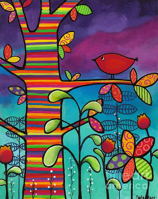Rainbow Forest Print by Carla Bank