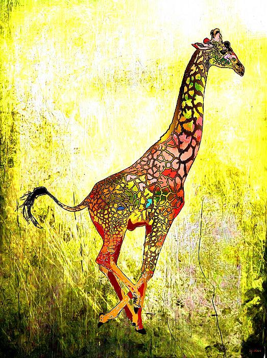 Rainbow Giraffe Print by Daniel Janda