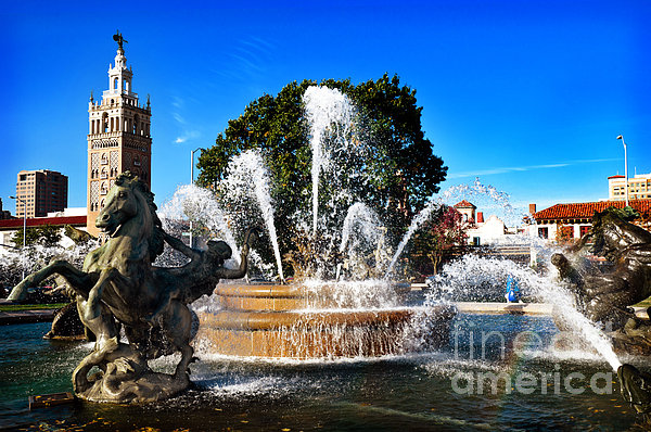 Rainbow In The Jc Nichols Memorial Fountain Print by Andee Design
