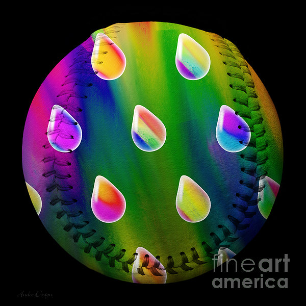 Rainbow Showers Baseball Square Print by Andee Design