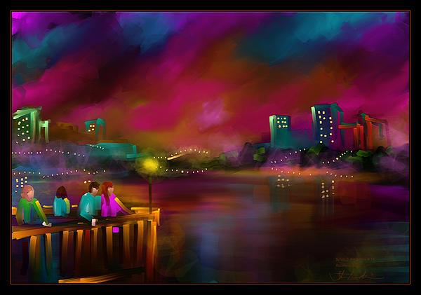 Rainbow Sky - Scratch Art Series - #58 Print by Steven Lebron Langston
