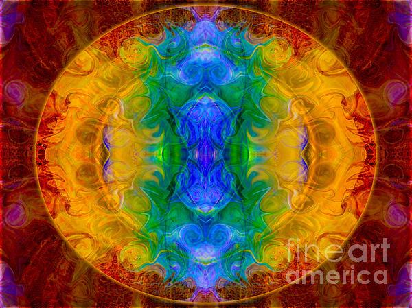 A Rainbow Of Chaos Abstract Mandala Artwork By Omaste Witkowski Print by Omaste Witkowski