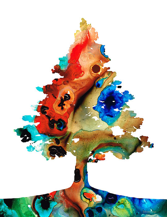 Rainbow Tree 2 - Colorful Abstract Tree Landscape Art Print by Sharon Cummings