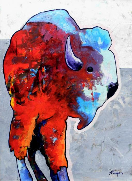 Rainbow Warrior Bison Print by Joe  Triano