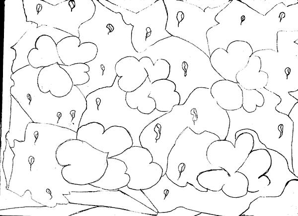 Thelma Harcum - Raining Hearts Abstract Drawing
