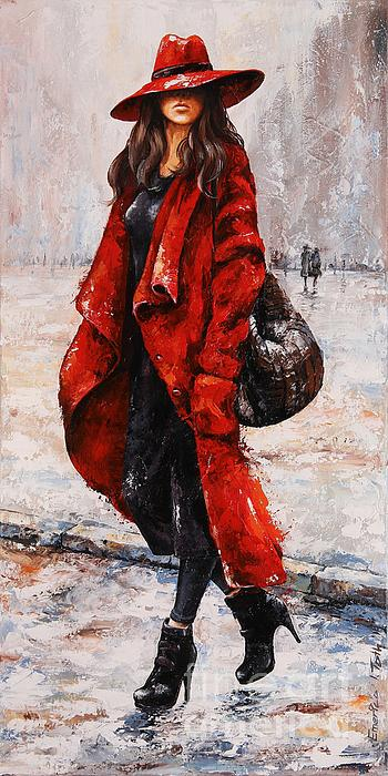 Rainy Day - Red And Black #2 Print by Emerico Imre Toth