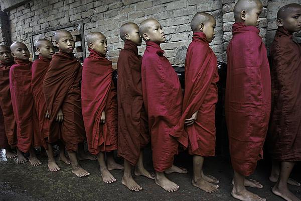 Rangoon Monks 1 Print by David Longstreath