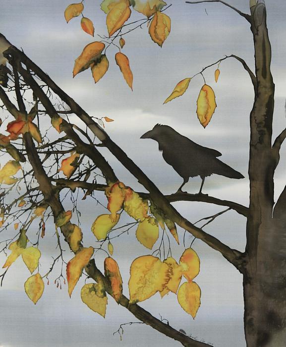 Raven In Birch Print by Carolyn Doe