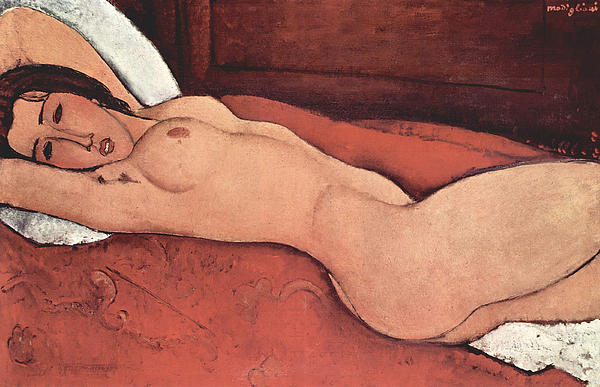 Reclining Nude With Arms Behind Her Head Print by Amedeo Modigliani