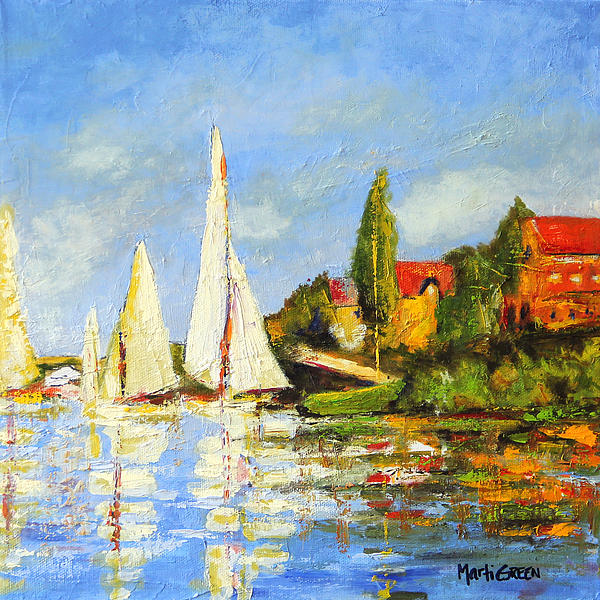 Recreation Of Boating At Argenteuil Print by Marti Green