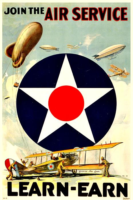 Recruiting Poster - Ww1 - Air Service Print by Benjamin Yeager