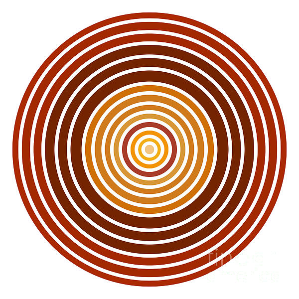 Red Abstract Circle Print by Frank Tschakert