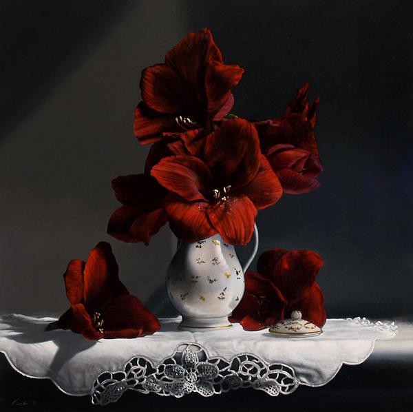 Red Amaryllis  Print by Larry Preston