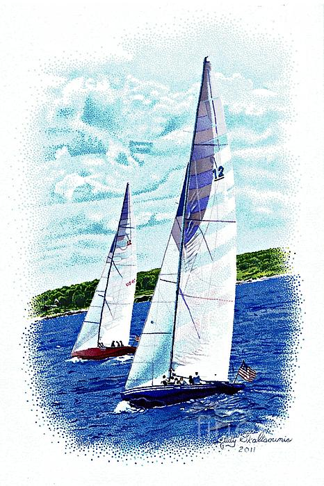Red And Blue Sailboats Print by Judy Skaltsounis