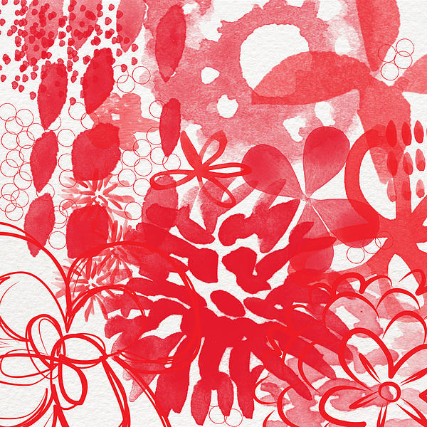 Red And White Bouquet- Abstract Floral Painting Print by Linda Woods