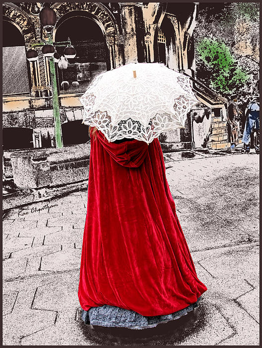 Red And White Walking Print by Kae Cheatham