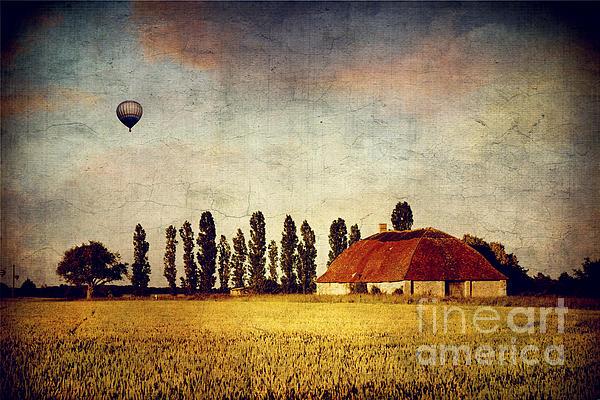 Red Barn - Field And A Balloon Print by Dirk Wuestenhagen